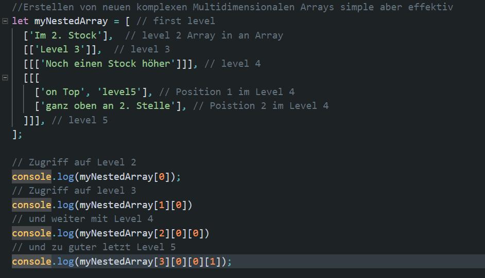 Codebeispiel eines Arrays